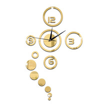 Acrylic Wall Clock Home Decoration Mirror Living Room   golden - $20.99