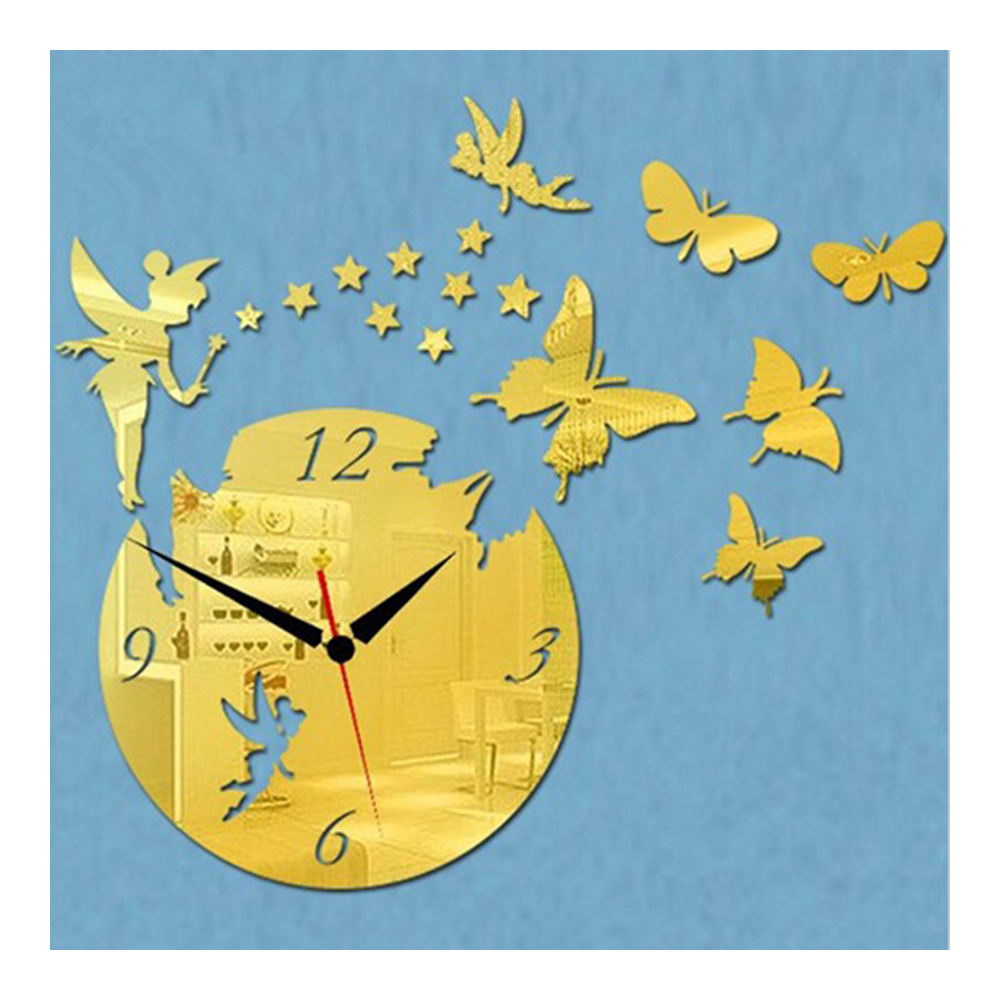 Acrylic Butterfly Creative Mirror DIY Wall Clock   golden