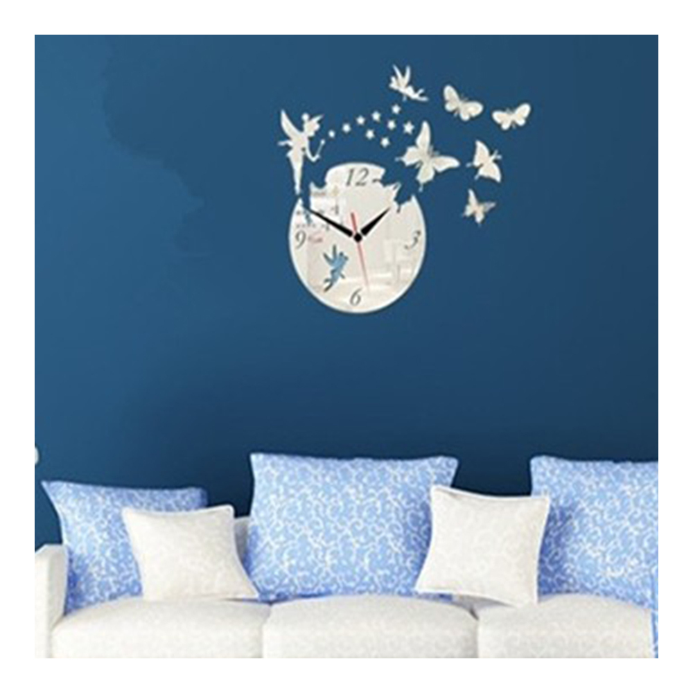Acrylic Butterfly Creative Mirror DIY Wall Clock   silver