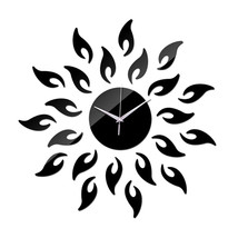 Acrylic Sunflower Mirror Living Room Wall Clock   black - $25.99