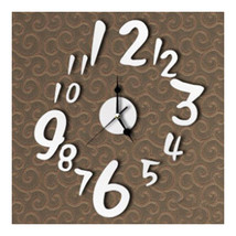 Digit Mirror Wall Clock Sticking   silver - $21.99