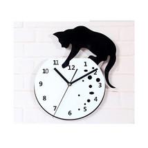 Cat climbing on the Clock Wall Clock Fashionable Creative Small Cat Wall... - $38.99