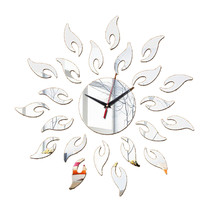 Acrylic Sunflower Mirror Living Room Wall Clock   silver - $25.99