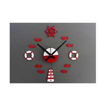 DIY Tower Helm Life Buoy Small Fish Clock DIY Clock Wall Clock Silent - $22.99