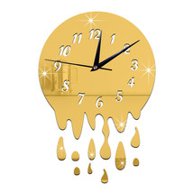 Acrylic Wall Clock Mirror Decoration   golden with scale - $20.99