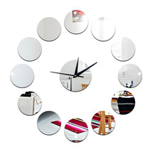 3D Acrylic Circle Mirror DIY Creative Sticking Wall Clock   silver - $23.99