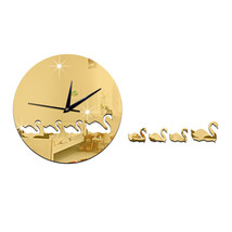 Swan Mirror Wall Clock Kid Room DIY Creative Sticking    golden - $22.99