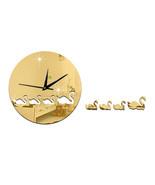 Swan Mirror Wall Clock Kid Room DIY Creative Sticking    golden - $22.99