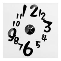Digit Mirror Wall Clock Sticking    black - $21.99