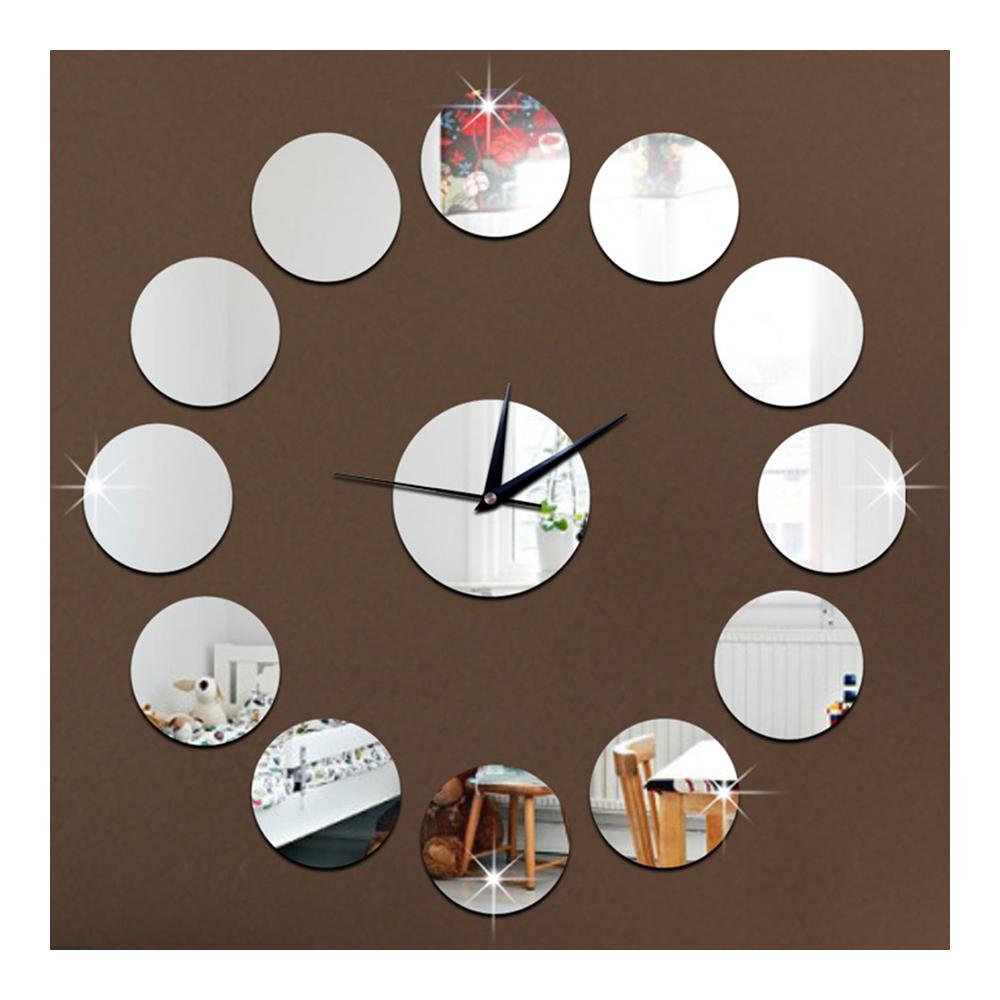 3D Acrylic Circle Mirror DIY Creative Sticking Wall Clock   silver