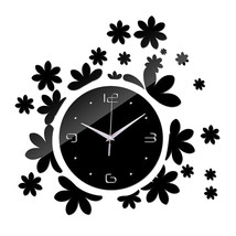 Acrylic DIY Wall Clock Mirror Creative Silent   black - $22.99