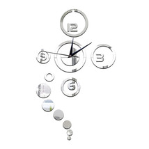 Acrylic Wall Clock Home Decoration Mirror Living Room   silver - $20.99