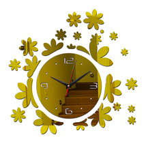 Acrylic DIY Wall Clock Mirror Creative Silent   golden - $22.99