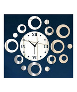 Wall Clock Sticking Decoration Circle  silver - $24.99