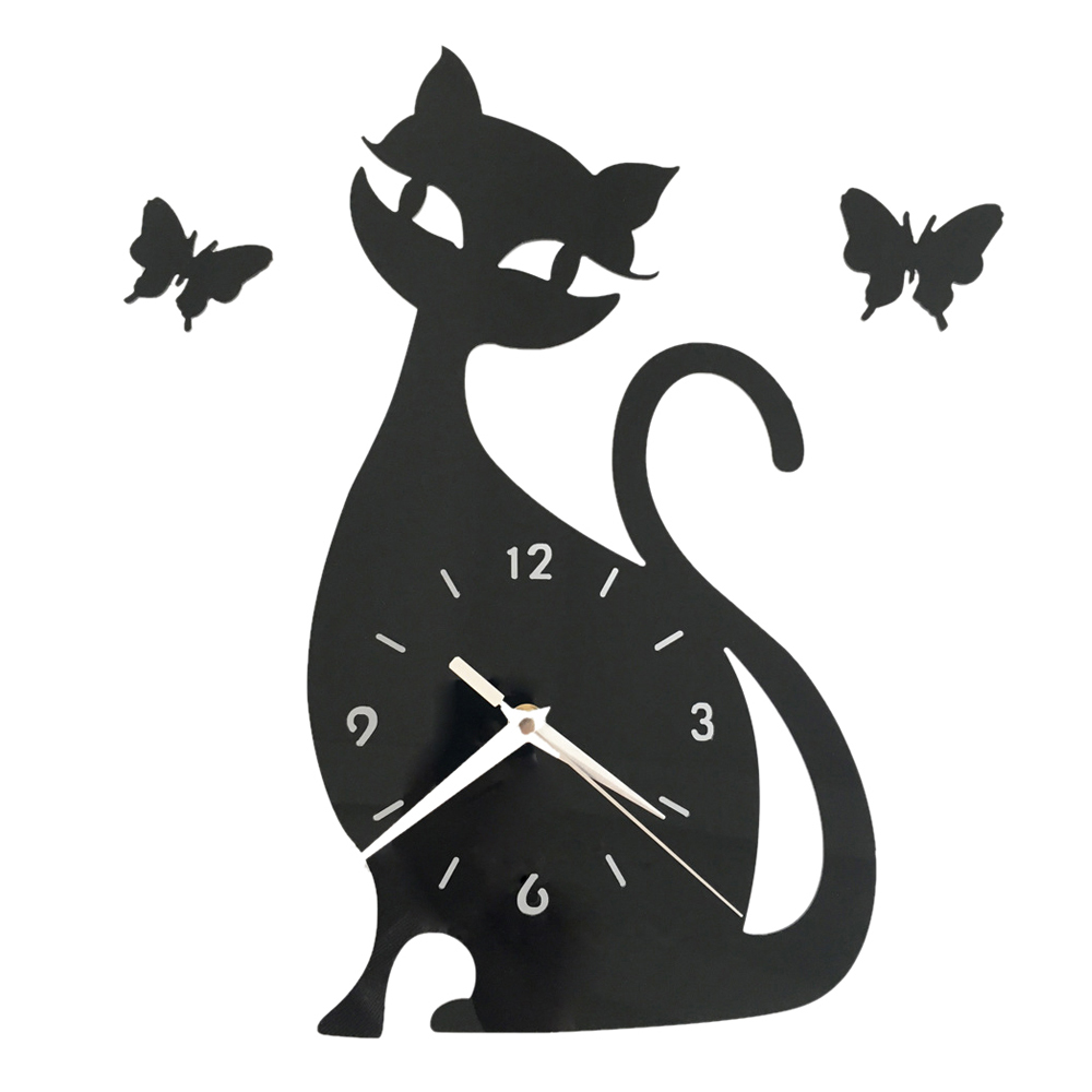 Primary image for Quartz Wall Clock Living Room Creative Cute Black Cat   black acrylic