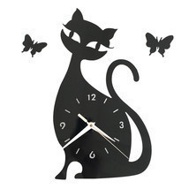 Quartz Wall Clock Living Room Creative Cute Black Cat   black acrylic - €25,15 EUR