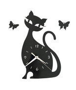 Quartz Wall Clock Living Room Creative Cute Black Cat   black acrylic - $29.99