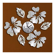 Decoration Flos Hibisci Wall Clock Creative   silver - $22.99