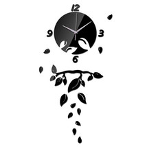 Wall Clock Living Room Decoration Mirror Leaf   black - $29.99