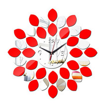 Acrylic Mirror Double Color Wall Clock DIY    silver red - $22.99