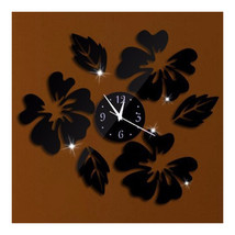Decoration Flos Hibisci Wall Clock Creative   black - $22.99