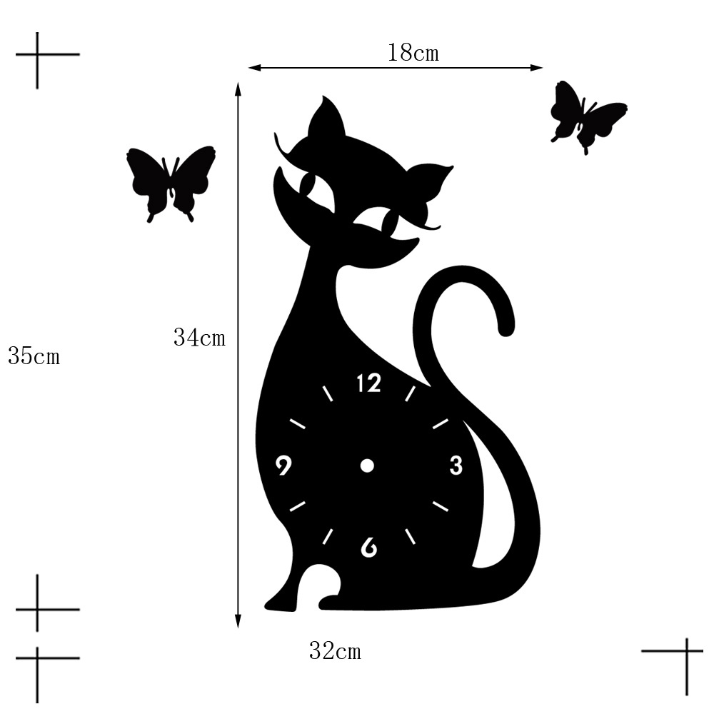 Quartz Wall Clock Living Room Creative Cute Black Cat   black acrylic