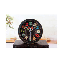 Old Black Wood Alarm Clock Fshionable Creative Three Dimensional Metal R... - $19.99