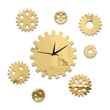 DIY Creative Decoration Gear Mirror Wall Clock  golden - $28.99