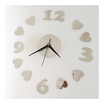 Love Heart Silent Casual Wall Clock Decoration Mirror   silver - $20.99