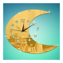 Moon Wall Clock Creative Mirror Kid Room Decoration   golden - $21.99