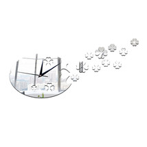 Lucky Clover Mirror Living Room Creative Wall Clock   silver - $21.99