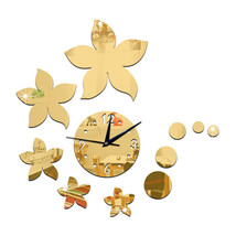 Living Room Wall Clock Creative Bauhinia Mirror Sticking   golden - $21.99