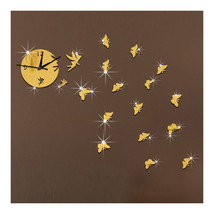 Butterfly Wall Clock Sticking Mirror Living Room    golden - $21.99