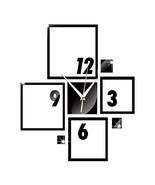 DIY Wall Clock 3D Creative Living Room Silent Mirror  black - $28.99