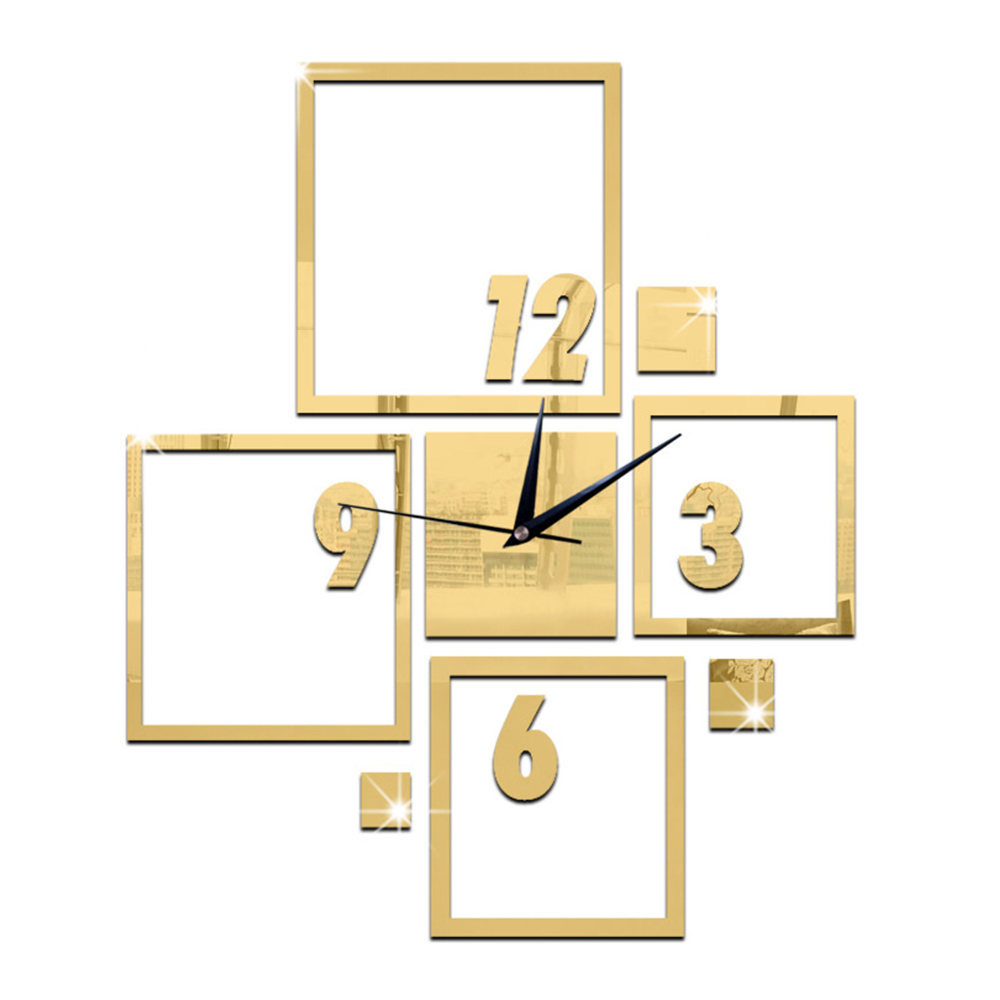 DIY Wall Clock 3D Creative Living Room Silent Mirror   golden