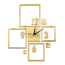 DIY Wall Clock 3D Creative Living Room Silent Mirror   golden - $28.99