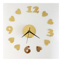 Love Heart Silent Casual Wall Clock Decoration Mirror   golden - $20.99