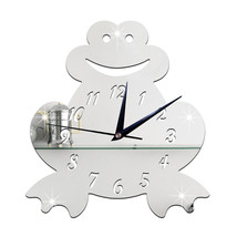 3D Silent Wall Clock Cartoon Frog Mirror   silver - $20.99