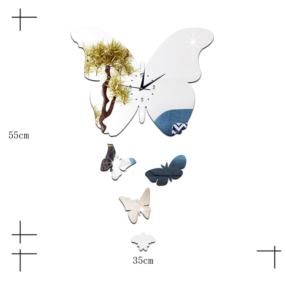 DIY Creative Decoration Butterfly Princess Mirror Quartz Wall Clock   A silver