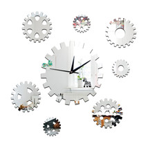 DIY Creative Decoration Gear Mirror Wall Clock   silver - $28.99