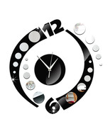 Creative Wall Clock Arc Acrylic 3D Mirror   silver mirror+black mirror - $28.99