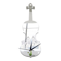 Creative Wall Clock Music Decoration Violin Mirror   silver - $26.99