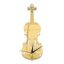 Creative Wall Clock Music Decoration Violin Mirror   golden - $26.99