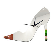 3D Women High Heel Shoe Mirror Wall Clock   silver - $20.99