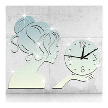 Wall Clock Creative Living Room Mirror Girl Sticking   silver - $27.99