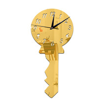 Silent Wall Clock Creative Mirror Key    golden - $20.99