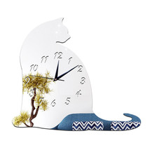 Big Fat Cat Mirror Sticking Wall Clock Decoration   silver - $27.99