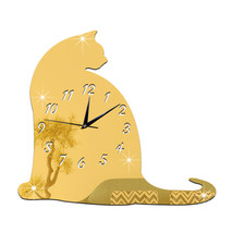 Big Fat Cat Mirror Sticking Wall Clock Decoration   golden - $27.99