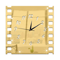 3D Acrylic Wall Clock Vintage Mirror Decoration Roll Film   golden - $27.99
