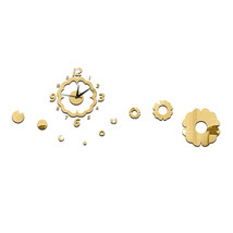 Flower Decoration Wall Clock Mirror Quartz Living Room   golden - $27.99